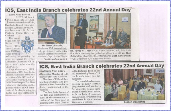 20171201 - East India - Annual day writeup in Shipping times